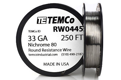 TEMCo Nichrome 80 series wire 33 Gauge 250 FT Resistance AWG ga