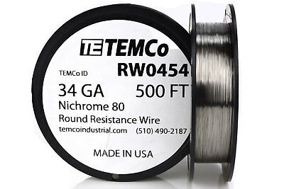 TEMCo Nichrome 80 series wire 34 Gauge 500 FT Resistance AWG ga