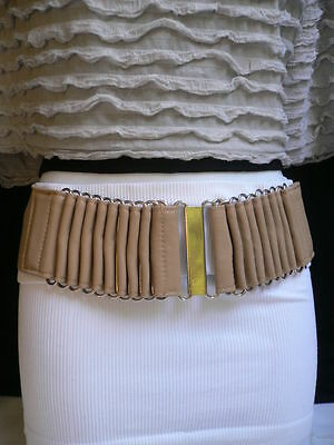 New Women Wide High Waist Hip Beige Fashion Belt Silver Metal Buckle Size Xs S M