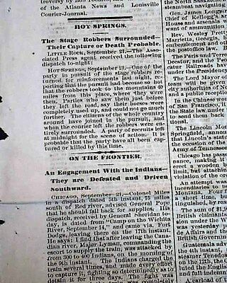 Rare MEMPHIS TN Tennessee 1874 Newspaper w/ State Coach Robbery INDIANS Reports