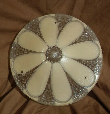 Daisy Art Deco Glass Ceiling Globe / Light - 10 1/2 inches - Ivory / clear