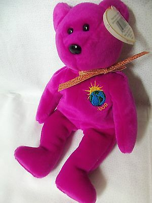 TY Beanie Babies Purple Teddy Bear ** MILLENIUM ** 5th Generation New w/ Tag