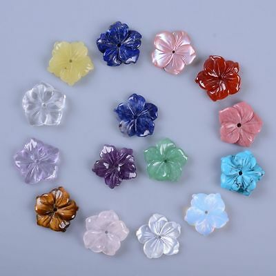 15mm Center drilled Small hand Carved gemstone flower jewelry making DIY beads
