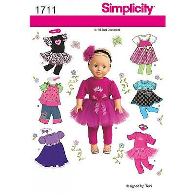 Simplicity Sewing Pattern 18 Inch (45.5 Cm) Doll Clothes Bodice Knit Top 1711