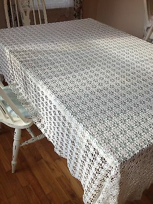 LARGE CROCHET TABLECLOTH VINTAGE ANTIQUE LACEY COVERLET BEDSPREAD HANDMADE ECRU