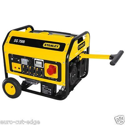 Stanley SG 7500W Generator Electric Starter Inc Wheels & Handles 3 Phase