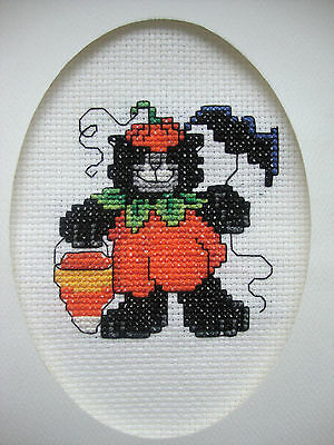 """COMPLETED FINISHED CROSS STITCH CARD """"HALLOWEEN PUMPKIN KITTY"""""""