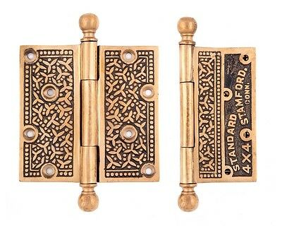 cast bronze Rice pattern door hinges 3 1/2 x 3 1/2  eastlake