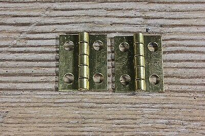"2 very small tiny little old door hinges brass 5/8 x 3/4"" jewelry box vintage"