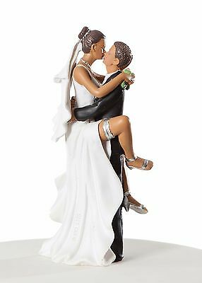 Funny Sexy African American Bride Legs Around Groom Wedding Cake Topper