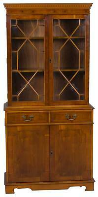 Vintage Antique Style Yew Wood Glass Door Bookcase Bookshelf Adjustable Office