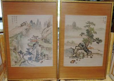 Pair 2 Antique Chinese Signed Scroll Landscape Silk Watercolor Painting Framed