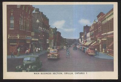 Postcard Orillia Canada Town Business Store Front 1940's