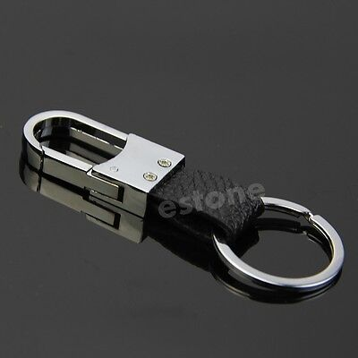 New Fashion Black Leather Strap Keyring Keychain Key Chain Ring Key Fob