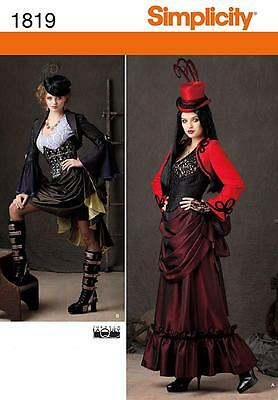 SIMPLICITY SEWING PATTERN Misses' Victorian era steam punk COSTUME 6 - 22 1819