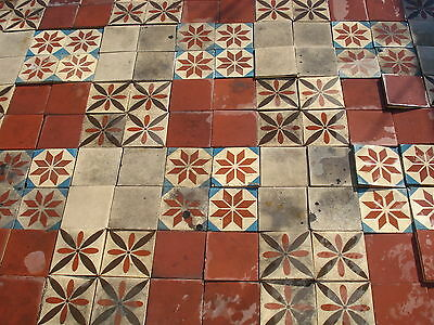 Antique ca1900 colorfull Encaustic 430 tile floor 115 sqr ft