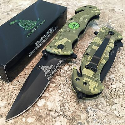 LIBERTY OR DEATH Spring Assisted Opening Tactical CAMO Rescue Pocket Knife NEW