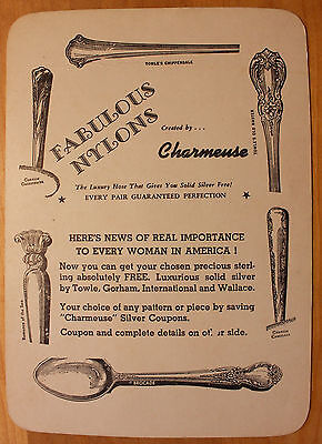 Original Vintage Charmeuse Sterling Silver Advertising Card with Coupon