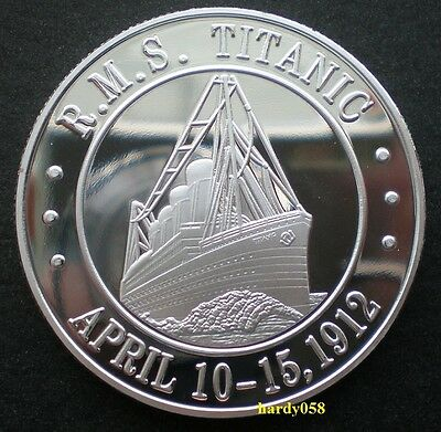 """RMS Titanic """"White Star Line Flag"""" coin Silver Plated 1oz"""