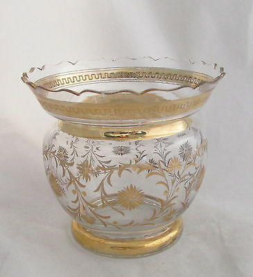 Antique Moser Gold Encrusted Engraved Glass Vase Scalloped Top Edge