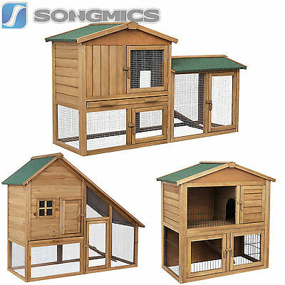 Songmics XXL Large Wooden Rabbit Hutch Pet Cage House Home Shelter In Brown PRH