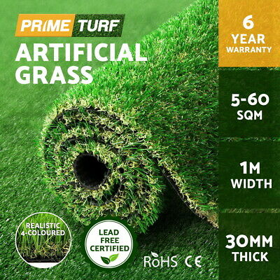 Primeturf 5-60 SQM Roll Synthetic Turf Artificial Grass Fake Plant Lawn 30mm
