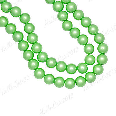 200PCS GLASS PEARL GREEN BEADS 4MM FIT BRACELECT NECKLACE GP0001-24