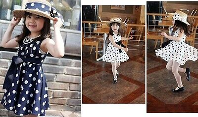 Girls Kids Polka Dot Chiffion Sundress Bowknot Belt Dress Toddler Tunic Skirts B