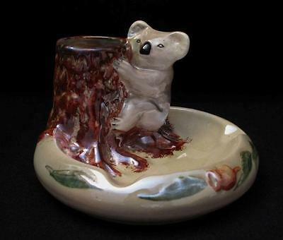 Superb Vintage Wembley Ware Australian Pottery Iridescent Lustre Koala Ashtray