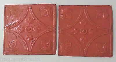 "2 8"" x 8"" Antique Tin Ceiling Tiles*SEE OUR SALVAGE VIDEOS* Vintage Coral LJ11"