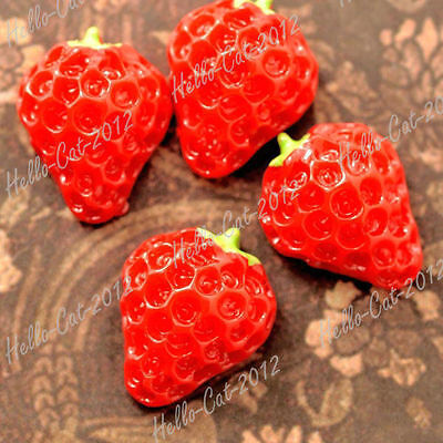 RESIN CABOCHONS 15PCS 13.5X11 FLATBACK VINTAGE STRAWBERRY FRUIT CAMEO RED RB0745