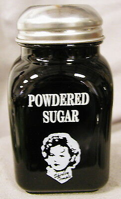 Black Milk Glass Stove Top Shaker w/ Shirley Temple - POWDERED SUGAR