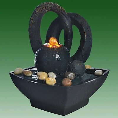 Black Sphere with Arches Lit Indoor Tabletop Water Feature Ideal for Feng Shui