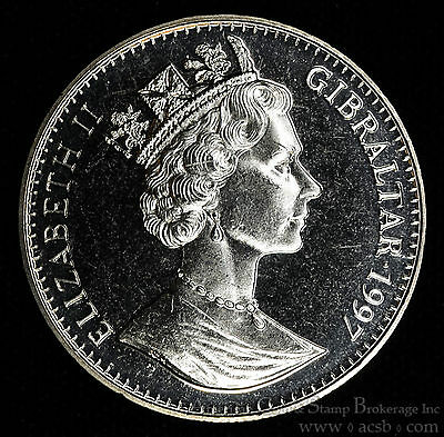 Gibraltar 1 Crown 1997 Gem BU+ PL 1C UK Britain Queen Elizabeth II Birthday.