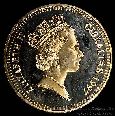 Gibraltar 5 Pounds 1997 Gem BU PL virenium 5P UK Golden Wedding Anniversary.