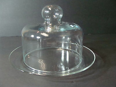 Vintage Clear Glass Covered Cheese ~ Butter Dish ~ Clear Glass Dome