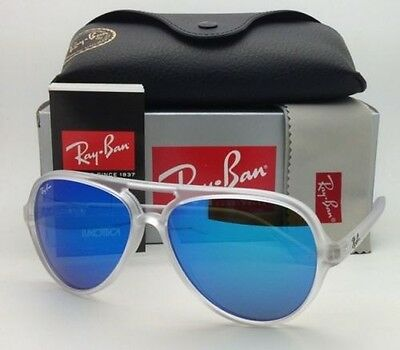 NEW RB 4125 646/17  Ray Ban Sunglasses CATS 5000  Blue Mirror Flash Transparent