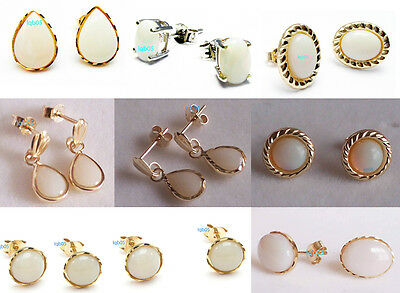 New 9ct Gold Yellow White Opal Earrings Pair Stud, Round, Heart, Pendant