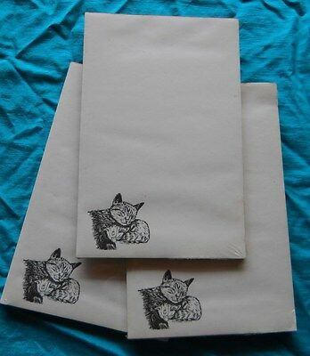 Cat and Kitten Notepad 50 Sheets 8.5 x 5.5 New Black and White Drawing - 3 pads