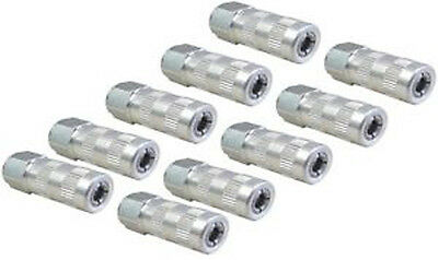 10 x GREASE GUN ENDS NIPPLE HYDRAULIC CONNECTOR 1/8 BSP COUPLER 4 JAW TYPE GRN19