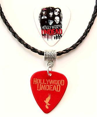 Hollywood Undead Guitar Pick Double Sided Black Necklace + Plectrum