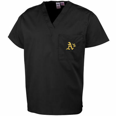 Oakland Athletics Unisex Scrub Top - Black - MLB
