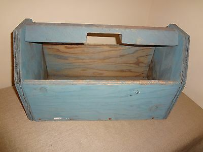 Primitive Wood Wooden Shabby Blue Carpenter's Garden Tool Tote with Handle