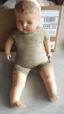 "BIG Vintage 1930s Composition Cloth Baby Boy Character Doll 23"" Tall to Restore"