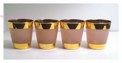 Libbey Mid Century Set of 4 Pink Frosted Texturized Rock Glass Gold Band