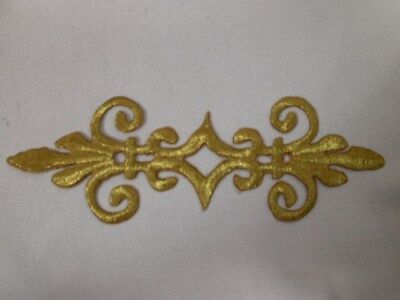 Gold Fleur Di Lis Triangle Scroll Iron On Patch 5.5 In