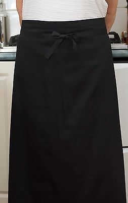 Ankle Length Black Waist Apron+POCKET+Long Ties -Chef/Cook/Waiter/Cafe-QLD Made