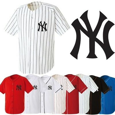 new style 877ce 8c004 NEWYORK NY YANKEES Baseball Stripe Open Tshirts sports wear Jersey shirt  Top AB