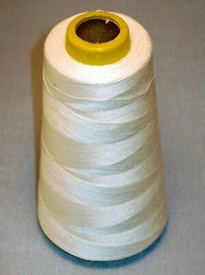 LOT OF 12 SPOOLS - WHITE Polyester Sewing Machine Thread - 3000 yds ea