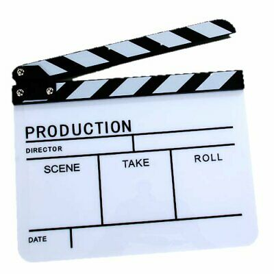 Ex-Pro Acylic Clapper Board Slate For TV Film Movie - High Quality Black & White